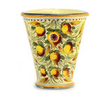 Artistica - Hand Made in Italy - MAJOLICA MELOGRANO: Triangulalar Corner Vase - MAJOLICA MELOGRANO: Museum quality majolica reproduction from Tuscany hand painted with an intriguing design featuring pomegranates and wheat spikes.