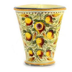 Artistica - Hand Made in Italy - Majolica Melograno: Triangulalar Corner Vase - Majolica Melograno: