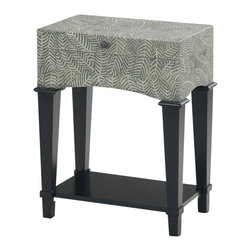 Ultimate Accents - Myriad Foliage Truck End Table - Additional storage on bottom shelf. End table with trunk storage. Hand carved fern leaves. Carved ferns on all sides gives this piece a three dimensional look. Felt lined storage area. Made from wood. Green and cream finish. Minimal assembly required. Inside box measurement: 19.75 in. W x 11.75 in. D x 4 in. H. Top usage space: 21.75 in. W x 13 in. D. Bottom shelf: 19.5 in. W x 11.5 in. D. Overall: 27.25 in. W x 14 in. D x 22 in. H (22 lbs.)Attractive and unique this end table provides convenient storage possibilities for any room.  Perfect as an end table or nightstand, this truck side table is finished with a hand carved leaf motif and metal hardware, the understated styling creates a transitional accent piece that blends with any decor.