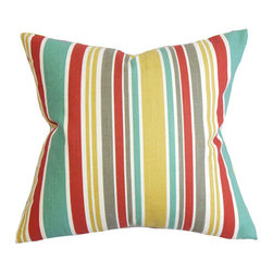 The Pillow Collection - Kirsi Red 18 x 18 Stripes Throw Pillow - - Pillows have hidden zippers for easy removal and cleaning  - Reversible pillow with same fabric on both sides  - Comes standard with a 5/95 feather blend pillow insert  - All four sides have a clean knife-edge finish  - Pillow insert is 19 x 19 to ensure a tight and generous fit  - Cover and insert made in the USA  - Spot clean and Dry cleaning recommended  - Fill Material: 5/95 down feather blend The Pillow Collection - P18-R0B-MODLAYOUT-POPPY-C100