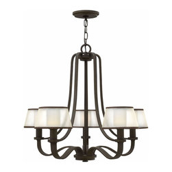 Hinkley Lighting - Hinkley Lighting 4965OB Prescott 5-Light Traditional Chandelier - The Prescott collection offers a unique modern/vintage feel with a traditional frame, knob detail and wide tubing. A wide, low-profile organza shade surrounds the etched opal inside glass, infusing transitional design elements to create the perfect balanc