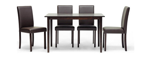 Baxton Studio - Susan 5-piece Brown Wood Modern Dining Set - This Susan Dining set's small size is perfect for apartments or breakfast nooks. This table set includes four dining chairs.