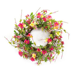 Melrose - Wild Flower Wreath - Add a colorful flourish to your foyer with this unique wreath.   22'' diameter 100% polyester Imported