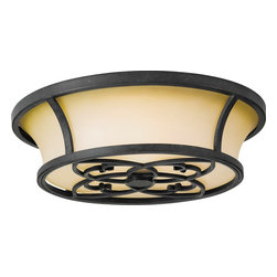 Murray Feiss - Murray Feiss King's Table Transitional Flush Mount Ceiling Light X-FA672MF - A unique tapered shape adds interest to this Murray Feiss flush mount ceiling light. From the King's Table Collection, the antique excavation glass shade features elegant fluid lines that are complimented by the elegant lines highlighted by the Antique Forged Iron finish.