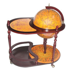 None - Merske Globes Trolley Globe Bar - Wrapped with majestic replica 16th century nautical maps this bar globe has an integrated wooden floor stand with casters for easy portability. This globe bar has a solid wood trolley stand to keep your drinks secure.