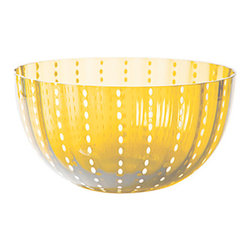 """Large Perle Serving Bowl , Amber - Hand blown bowls from Italy, amber. 5""""Hx9""""D."""