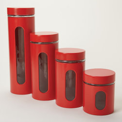 Anchor Hocking - Anchor Hocking 4-piece Palladian Red Stacking Jars - Narrow and uniform,these red stainless steel jars will elegantly display your pasta,coffee,or anything else that you want to keep fresher longer. A side window allows you to gauge capacity and a stackable design keeps your counter tidy.