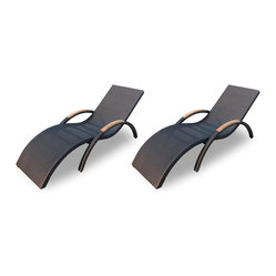 Arbor 2-Piece Stackable Chaise Lounge Set, Coffee Bean Wicker