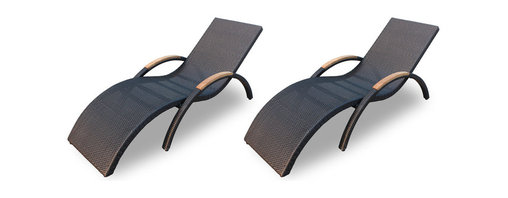 Harmonia Living - Arbor 2 Piece Stackable Chaise Lounge Set, Coffee Bean Wicker - Chaise up your outdoor seating arrangement with these sleekly styled loungers. They're made of solid teak and high-density, polyethylene wicker that weathers the elements beautifully, so you can enjoy them year-round. But, they also stack away neatly when not in use.