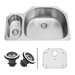 Vigo - VIGO 32-inch Undermount Stainless Steel Kitchen Sink,Grid and Two Strainers - Commercial grade stainless steel makes this sink from Vigo a great addition to any functional kitchen. This sink is undercoated and padded for sound elimination and also prevents condensation.