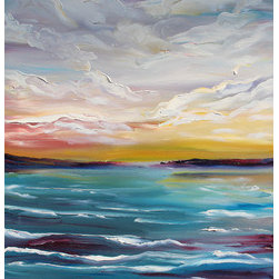 """Making Waves"" (Original) By Kristine Kainer - This Seascape And/Or Cloudscape Is A Vast Departure From My Artistic Style. I Tend To Paint Close-Ups Of Small Objects (E.G. Shells, Food). However, After A Particularly Frustrating Day In Which I Ruined A Few Canvases (And Nerves), I Used My Leftover Paints And Imagination To Create This Piece. (Added Tidbit: I Ruined A Few Brushes That Day As Well. In Complete Frustration, I Painted This With My Finger���Fingerpainting Never Looked Like This In School!)"
