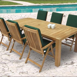 "Fifthroom - 96"" Teak Comfort Table and Estate Chair Set -"