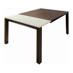 New Spec - Wood Dining Table w Extended Leaf - Color/Finish: Brown/White. Material: Veneer/Rubberwood. Extended Leaf. . 62.99-86.61 in. L x 35.43 in. W x 28.74 in. H (140 lbs)