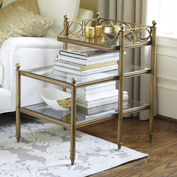 Ballard Designs - Grand Marquis Side Table - Fluted legs. Fretwork details. Ball finials. Tiered side tables are hard to find, especially with grand style like our Grand Marquis. Three stepped glass shelves create lots of serving and display space while keeping the look light and elegant. Coordinates with our Grand Marquis Console. Grand Marquis Side Table features: . . .