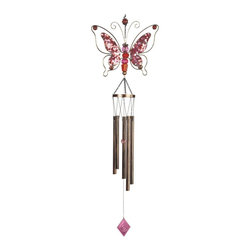 GSC - 43 Inch Pink Sparkled Butterfly Wind Chime with Red Gem Stones - This gorgeous 43 Inch Pink Sparkled Butterfly Wind Chime with Red Gem Stones has the finest details and highest quality you will find anywhere! 43 Inch Pink Sparkled Butterfly Wind Chime with Red Gem Stones is truly remarkable.