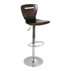 """LumiSource - H2 23"""" Barstool in Wenge - The H2 Bar Stool will add a punch of color to any room. This stool is made out of painted bent wood. It has a slat design through the backrest which adds artistic detail. Features a chrome base with footrest and adjustable hydraulics. A new and improved version of one of our best selling stools! (Hue Barstool) Features: -Barstool. -H2 collection. -Wenge color. -Footrest and base in chrome finish. -Painted bent wood construction. -Slat design through the backrest. -Adjustable hydraulics. Specifications: -Seat Height: 23"""" - 32"""". -Overall dimensions: 41"""" H x 16"""" W x 17"""" D."""