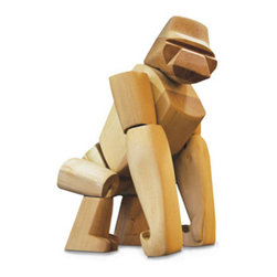 Hanno The Gorilla Design By David Weeks - Like Hanno, the Greek voyager who discovered gorillas 2500 years ago, your Hanno is brave, strong, and curious. His powerful hardwood frame can hold many poses, and his elastic-band muscles and durable wood limbs make him almost impervious to breakage.  Material: Sustainably Harvested Beech Wood  Dimensions: 12 x 6.5 x 3.5 inches