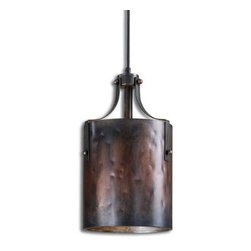 Grandin Road - Arkon Mini Pendant Light - Cylindrical metal hanging pendant light. Quality-crafted from metal with a washed copper finish and burnished details. Ceiling plate and wire for installation included. Assembly required, including hardwire installation. Light up your kitchen, dining room, or rathskeller with a classic vintage-style pendant. The complex variations in the dramatically antiqued metal finish and burnished hardware and details add extra dimension to Akron's geometric drum shade. . . . .