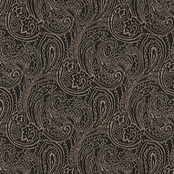 Black, Traditional Abstract Paisley Designed Woven Upholstery Fabric By The Yard - This material is an upholstery grade jacquard fabric. It is lightweight, but is rated heavy duty and upholstery grade.