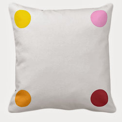 Tomova Jai Designs - White And Colorful Polka Dots Decorative Pillow - Polka Dots are always fun and playful!
