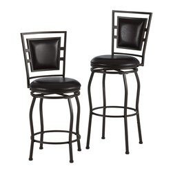 Linon Home Decor - Linon Home Decor Townsend Three Piece Adjustable Stool Set X-DK-10-LTM12389 - The Townsend Three Piece Adjustable Stool Set is perfect for adding seating to a home bar, kitchen island or pub set. The sleek, transitional design is accented by an upholstered squared back and curved legs. The adjustable legs and swivel capability add versatility to this piece, allowing you to easily change the height and position of the seat. The dark brown finish allows this set to complement a range of home decor styles and color schemes. 275 pound weight limit.