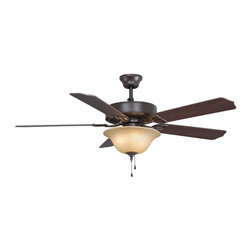 Fanimation - Fanimation Aire Decor Builder with Single Light Ceiling Fan in Oil-Rubbed Bronze - Fanimation Aire Decor Builder with Single Light Model BP220OB1 in Oil-Rubbed Bronze with Reversible Cherry/Walnut Finished Blades.