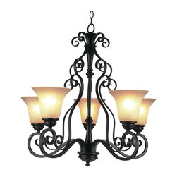 Joshua Marshal - Five Light Rubbed Oil Bronze Antique Amber Scavo Ribbed Glass Up Chandelier - Five Light Rubbed Oil Bronze Antique Amber Scavo Ribbed Glass Up Chandelier