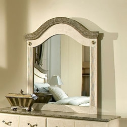 Standard Furniture - Arched Mirror for Vanity Dresser w Faux Stone - Intricate carvings and interesting detail throughout create simple elegance. Cast metal adornments on mirror feature a distinctive simulated bronze finish. Beautiful simulated Jura Block finish gives the appearance of a fine light colored marble. French dovetail construction throughout enhances durability. Quality wood products bonded together creates durable construction throughout. Top drawers are felt lined to protect delicate items. Surfaces clean easily with a soft cloth. Products may contain some plastic parts. 38 in. L x 46 in. H (30 lbs.)Florence, by Frisco Manufacturing, features an inviting look through the combination of contemporary class and traditional style.