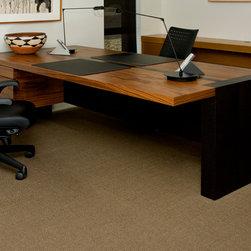 De La Madera, LLC - Desk - Partners Desk in Pau Ferro and Stained Walnut Veneer.  Custom drawer pulls in antique bronze finish.
