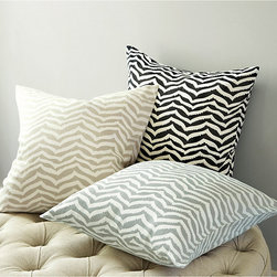 """Ballard Designs - Zebra Chevron Pillow - Cover Only 18"""" - Coordinates with our Zebra Chevron Panel & Tablecloth. Machine washable cover. The Zebra Chevron Pillow Cover gives one of our favorite animal prints a sophisticated geometric look. Hand finished in soft cotton/linen blend with hidden zipper and knife-edge. Zebra Chevron Pillow Cover features: . ."""