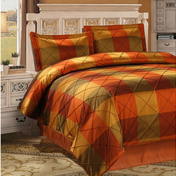 None - Royal Court 3-piece Rust Duvet Cover - Give your bed a complete makeover with this trendy patterned duvet cover. Featuring a 100 percent polyester construction,it offers comfort and durability. The three-piece sets rust-colored design is sure to complement your d�cor nicely.