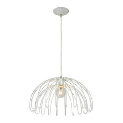 Varaluz Clyde 1-Light Pendant - 18W in. White - Mod design looks downright magical with the Varaluz Clyde 1-Light Pendant - 18W in. White. The hand-forged recycled steel frame features narrow bands bending gracefully downward not to mention a refreshingly simple white finish. The pendant comes with 120 inches of installation able and it's UL and CUL listed for dry locations. Requires one 100-watt medium base bulb (not included). About Varaluz:Committed to preserving the earth Varaluz creates products from reclaimed and recycled materials. Most of their lighting fixtures are made from steel containing 70% or greater recycled content and 100% recycled glass. This practice helps cut down on manufacturing waste giving you peace of mind when installing their fixtures in your home.