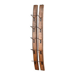 Kathy Kuo Home - Small Fresno Reclaimed Wood Modern Rustic Wine Bottle Shelf - The ingenious use of existing or recycled materials is one of the most charming aspects of rustic lodge style, perfectly realized in this wall mounted wine rack. Perfect for lodge or loft, this functional piece holds five bottles beautifully.