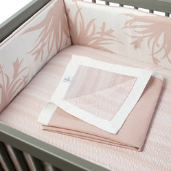 Oilo - Freesia 3-piece Crib Set, Blush - The wild freesia blossoms in this baby bedding are the perfect contrast to the soft blush and white color palette. Your baby girl will sleep like a princess when she is surrounded by these beautiful pieces. The set includes a cozy bumper, fitted sheet and bed skirt — everything you need to bring baby home.