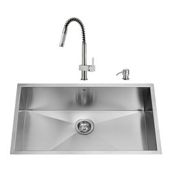 "VIGO Industries - VIGO All in One 30-inch Undermount Stainless Steel Kitchen Sink and Faucet Set - Give your kitchen a fresh new look with a  VIGO All in One Kitchen Set featuring a 30"" Undermount kitchen sink, faucet, soap dispenser, matching bottom grid and sink strainer."
