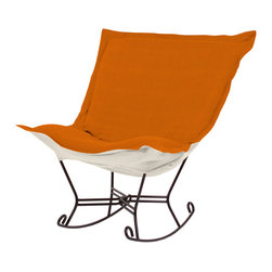 Howard Elliott - Sterling Canyon Mahogany Frame Scroll Puff Rocker - The Sterling Puff Chair is a simple yet sophisticated piece. The fabric features a hopsack look with a crisp hand and rich color. Sterling Canyon, a soothing orange with a linen-like texture. 40 in. W x 37 in. D x 40 in. H