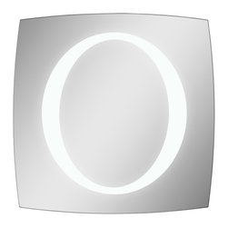mirrors - This mirror is perfect for any room with its unique shape and polished edges. The oval in the center of the mirror lights up with LED bulbs and can be surface mounted or recess mounted.