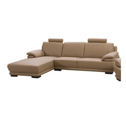 Beverly Hills Furniture Inc. - Rhythm Italian Leather Sectional with 2 Headrests, Left Chaise - This Rhythm Italian Leather Sectional featured by incredible ultra contemporary design. You can be sure - this sectional crafted carefully with kiln dried solid wood frame construction and premium thick top grain leather with matching vinyl on side and back.