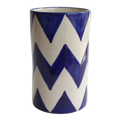 Blue ZigZag Wine Bottle Holder - You love to linger over your meals and want your wine at the ideal temperature the whole time. So add this bottle holder to your decor. The hand-crafted ceramic piece, imported from Mexico, adds genuine fiesta flair.