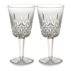 Waterford Lismore 8 oz. Goblet - Set of 2 - The Waterford Lismore 8 oz. Goblet - Set of 2 is designed specifically for aromatic red wines. This fine crystal glass is part of the Lismore Collection, which features beautiful detailing of a signature diamond and wedge cut design.About WaterfordWaterford is the world's most coveted name in crystal. Rich in history, this company was founded in 1783 by William and George Penrose in the heart of the Irish harbor town of Waterford. Throughout the generations, they have become known worldwide for creating crystal and glass drink ware, crystal gifts, and home accessories of unsurpassed beauty and quality. From the Waterford Lismore, the most famous Waterford pattern, to innovative contemporary patterns, Waterford items are instant heirloom pieces everyone will treasure.