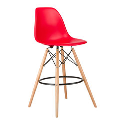 Barstool Slope Chair in Red - Take iconic mid-century modern design to new heights. Inspired by the classic design aesthetic of our Mid-Century Slope Chair, the Barstool Slope Chair offers stylish modern seating for your counter-height needs. The chair features a smooth polypropylene seat and natural wood dowel legs. We see this chair fitting in at the kitchen island, providing a comfortable seat for late night stacks or kitchen chatter. Available in a variety of vibrant colors, the chair will spruce up your d̩cor without overpowering the room.
