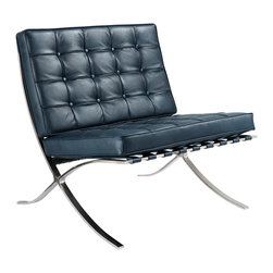 M331 Barcelona Lounge Chair in Navy Blue Italian Leather - The epitome of grand modern style, lounge anyway you want in this one cool seat. First designed for the king and queen of Spain, you will look and feel like royalty here. Crafted with top grain leather, it features button-tufting throughout.