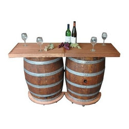 Napa East Wine Barrel Portable Folding Bar - When it comes to entertaining fellow wine enthusiasts in your home, the versatile Napa East Wine Barrel Portable Folding Bar is an ideal choice. Built using a reclaimed French wine barrel, this handcrafted bar and table is hinged in the middle, allowing it to open at 90-degree and full 180-degree angles. Inside the barrel is built-in shelves for storage, and on top is a gorgeous one-inch-thick white oak counter. It's easy to move, too, via conveniently positioned casters.About Napa EastNapa East creates wine-inspired furnishings that are made from actual reclaimed oak wine barrels. Their barrels began life handcrafted with pride from the finest French and American Oaks, and Napa East continues that theme when they hand-select barrels and giving them new life as beautiful one-of-a-kind works of art.
