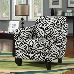 Coaster - Multi Color Casual Accent Chair - Embrace your wild side with jungle accent chairs. Available in leopard and zebra pattern with cappuccino hardwood legs and plush seating.