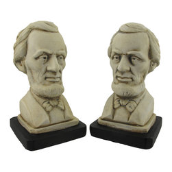 Zeckos - Pair of Museum White Finish Abraham Lincoln Bust Bookends - This beautiful pair of museum white finish bookends feature the bust of Abraham Lincoln, the 16th President of the United States (and the first Republican one). Each of the bookends stands  7 1/4 inches tall, is 4 inches wide and 3 7/8 inches deep. Made of cold cast resin, they have a aged marble white finish. They'll a perfect addition to any history lover's home, and make a great gift for family and friends.