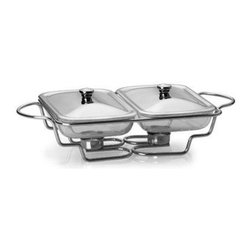 Lifetime Brands - Double 1.5 Qt. Oblong Warming Set - Towle Living Modernist Chrome-Plated Double 1.5-qt. Oblong Bake and Serve Warmer makes baking and serving easy and stylish. The oven-safe glass liners moves from oven to table to complete your dining experience with chrome-plated stand and lids. The added double tea light feature keeps foods warm while you entertain your guests. The chrome-plated finish retains a bright luster and does not require polishing. The glass liners are oven-proof and microwave safe up to 500 degrees F. Hand-wash lids and stand with non-abrasive detergent and soft cloth, then towel dry. Glass liners are dishwasher safe.