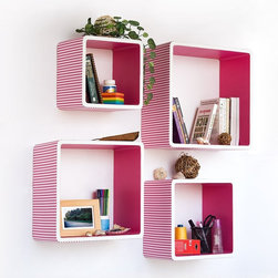 Trista Pink Strip Square Leather Wall Shelf - Floating bookshelves always add a unique look to a room. They get the books off the ground in a visually appealing way. They're great for younger kids and for teens too.