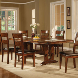 7 PC Country Dark Oak Wood Dining Set Leaf Table Chairs Leather Seat - This group is constructed of hardwood solids and mango veneers. Designed in a dark oak finish with heavy distressing, the table top is enhanced with metal accents on the corners. Chairs and stools feature dark brown vinyl.