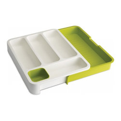 Joseph Joseph - Drawer Store, Green - The DrawerStore Organiser is perfect for keeping these items neatly organised as it has a variety of differently sized compartments and a handy, moveable storage tray for small, loose objects. Dishwasher Safe.