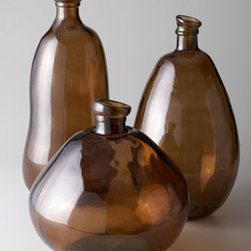 "Horchow - Short Brown Glass Vase - Add warm color to your decor with these handcrafted glass vases. ""Bubbling"" and imperfections create a light-catching ""hammered"" texture unique to each one. Made of glass. Hand wash. Short (shown front), 13""Dia. x 13""T. Medium (shown in back on righ..."